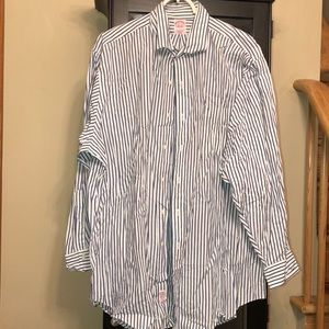 Brooks Brothers navy white striped 17.5/33